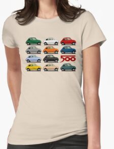 Fiat 500 side view Womens Fitted T-Shirt