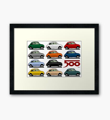 Fiat 500 side view Framed Print