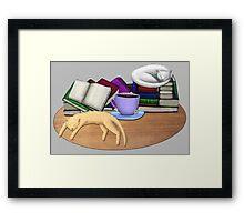 Cat Nap with Books & Tea (White & Ginger) Framed Print