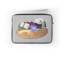 Cat Nap with Books & Tea (White & Ginger) Laptop Sleeve