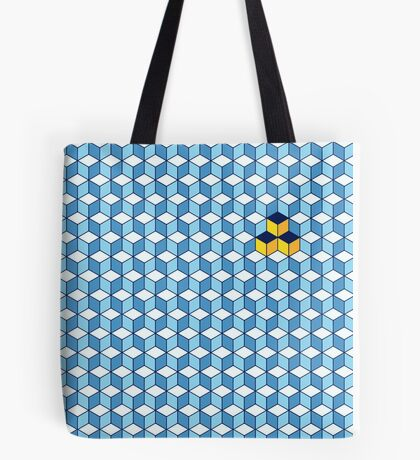 Blue & Orange Tiling Cubes Tote Bag