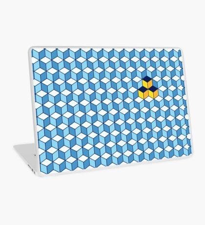 Blue & Orange Tiling Cubes Laptop Skin