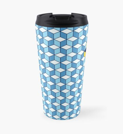 Blue & Orange Tiling Cubes Travel Mug