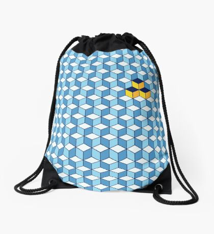 Blue & Orange Tiling Cubes Drawstring Bag