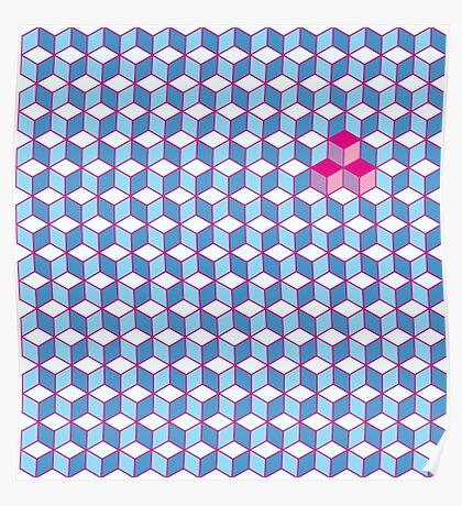 Blue & Pink Tiling Cubes Poster