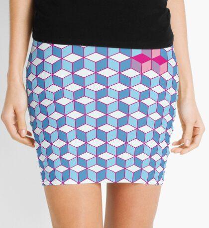 Blue & Pink Tiling Cubes Mini Skirt