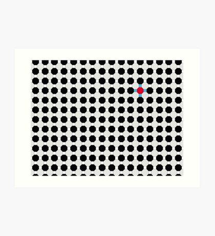 Grey & Red Tiling Tessellation Art Print