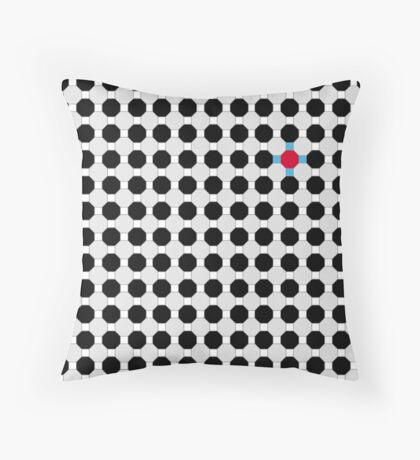 Grey & Red Tiling Tessellation Throw Pillow