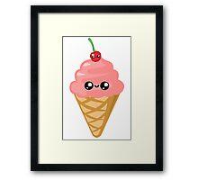 Kawaii Ice cream Cone Framed Print