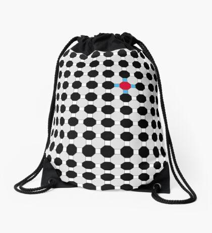 Grey & Red Tiling Tessellation Drawstring Bag