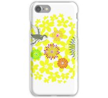 Yellow Flower Burst & Bird iPhone Case/Skin