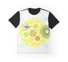 Yellow Flower Burst & Bird Graphic T-Shirt