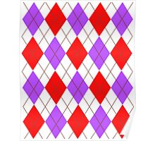 ARGYLE RED AND PURPLE Poster