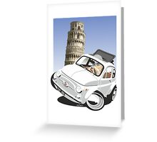 Fiat 500D caricature Pisa Greeting Card