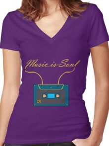 Music is soul Women's Fitted V-Neck T-Shirt