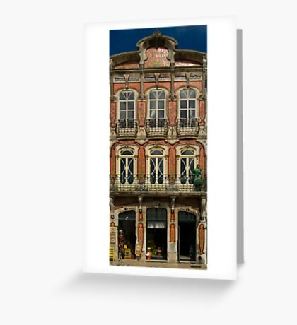 Art Nouveau facade Portugal Europe Greeting Card