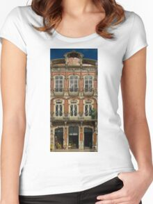 Art Nouveau facade Portugal Europe Women's Fitted Scoop T-Shirt