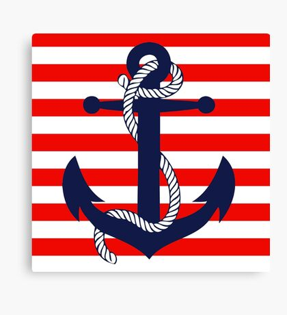 Ahoy! (red stripe) Canvas Print