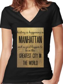 History is Happening in Manhattan Women's Fitted V-Neck T-Shirt