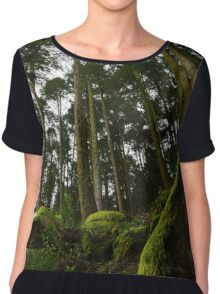 Landscape mossy rock and soaring pine trees Chiffon Top