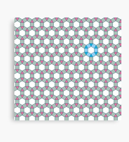 Tiling Tessellation In Green, Blue & Pink Canvas Print