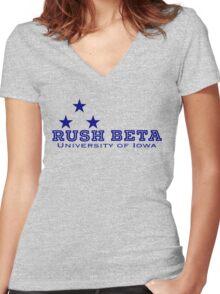 Rush Navy Women's Fitted V-Neck T-Shirt