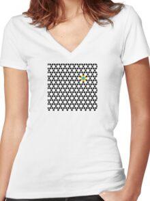 Black & White Tessellation Pattern Women's Fitted V-Neck T-Shirt