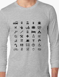 International travel symbols in BLACK Long Sleeve T-Shirt
