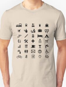 International travel symbols in BLACK Unisex T-Shirt