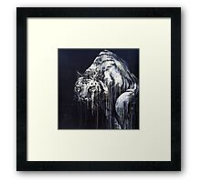 Black and White Abstract Painted Tiger Framed Print
