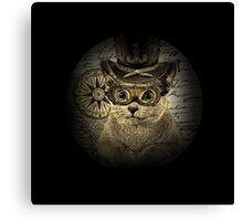 Cheeky Steampunk Cat with Goggles and Top Hat Canvas Print