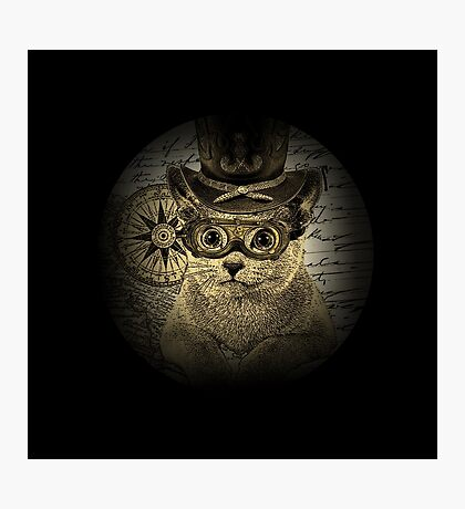 Cheeky Steampunk Cat with Goggles and Top Hat Photographic Print