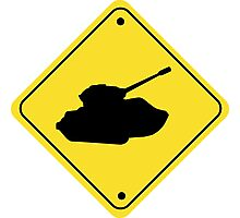 Warning Tank Xing Crossing Sign Photographic Print
