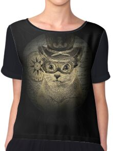 Cheeky Steampunk Cat with Goggles and Top Hat Chiffon Top