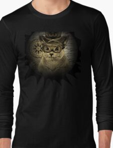 Cheeky Steampunk Cat with Goggles and Top Hat Long Sleeve T-Shirt