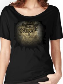 Cheeky Steampunk Cat with Goggles and Top Hat Women's Relaxed Fit T-Shirt