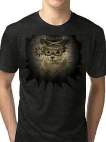 Cheeky Steampunk Cat with Goggles and Top Hat Tri-blend T-Shirt