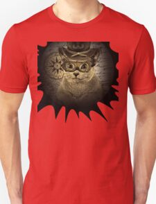Cheeky Steampunk Cat with Goggles and Top Hat Unisex T-Shirt