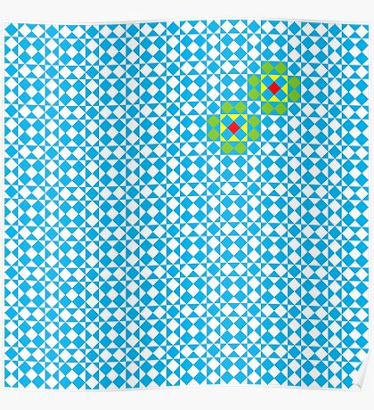 Tessellation tiling pattern in blue Poster