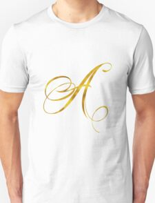 Letter A Initial Gold Faux Foil Metallic Glitter Monogram Isolated on White Background Unisex T-Shirt