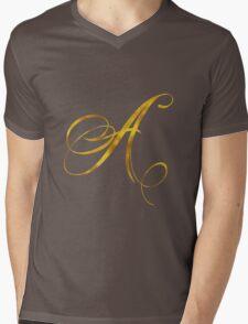 Letter A Initial Gold Faux Foil Metallic Glitter Monogram Isolated on White Background Mens V-Neck T-Shirt