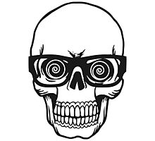 Skull with Glasses Photographic Print