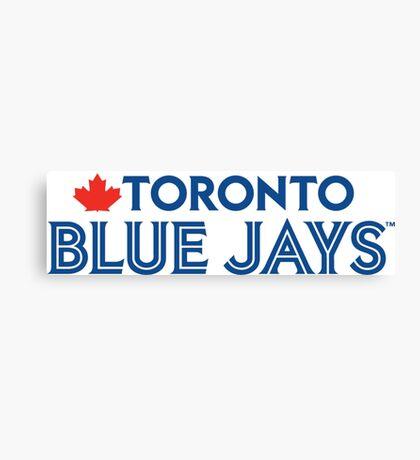Toronto Blue Jays Wordmark with Canada maple leaf Canvas Print