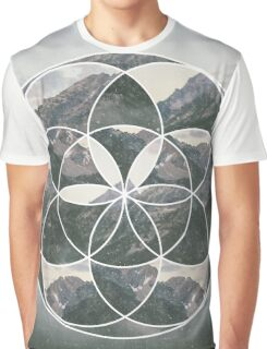 Mountain scape Geometric Collage Graphic T-Shirt