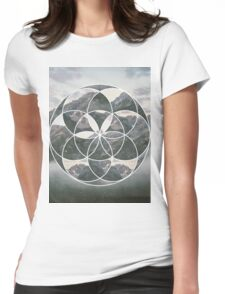 Mountain scape Geometric Collage Womens Fitted T-Shirt