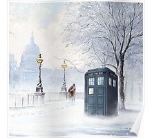 Tardis Snow Romantic Winter Poster