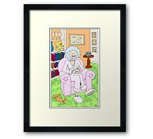 cancer woman relaxing at home with a cuppa Framed Print