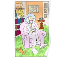 cancer woman relaxing at home with a cuppa Poster