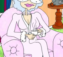 cancer woman relaxing at home with a cuppa Sticker