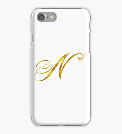 Letter N Initial Gold Faux Foil Metallic Glitter Monogram Isolated on White Background iPhone Case/Skin